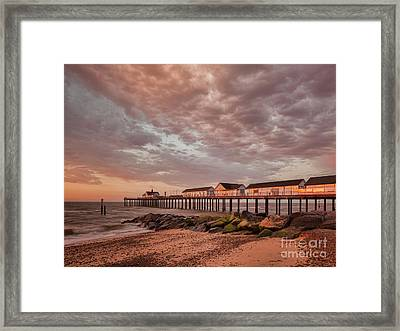 Pier At Sunrise Framed Print by Colin and Linda McKie