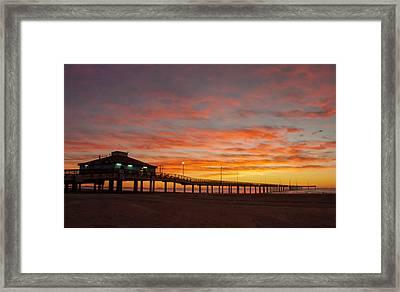 Pier At Sunrise Port Aransas Tx Framed Print