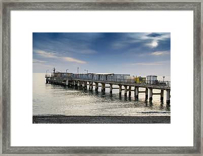Pier At Sunset Framed Print
