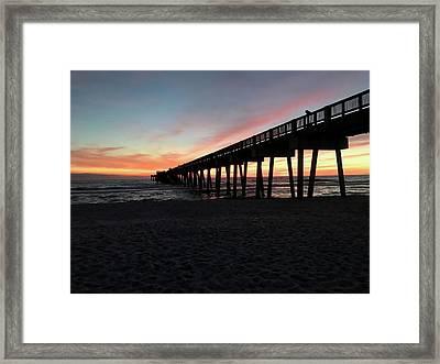 Pier At Sunset Framed Print