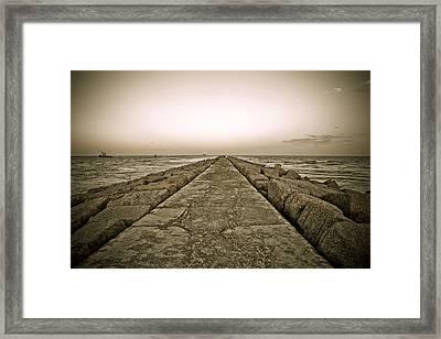 Pier At Sunset Framed Print by Marilyn Hunt