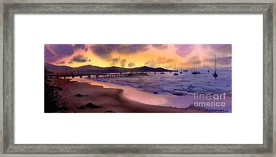 Framed Print featuring the painting Pier At Sunset by Sergey Zhiboedov