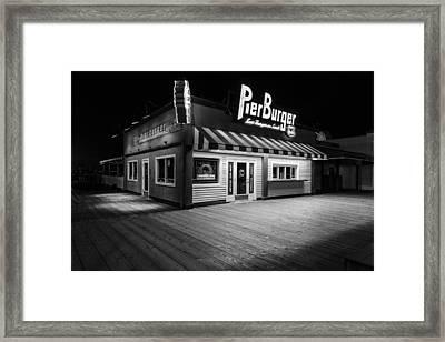 Pier Burger Santa Monica Pier Black And White Framed Print