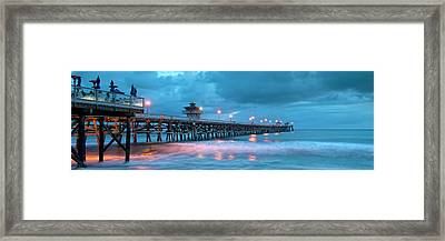 Pier In Blue Panorama Framed Print