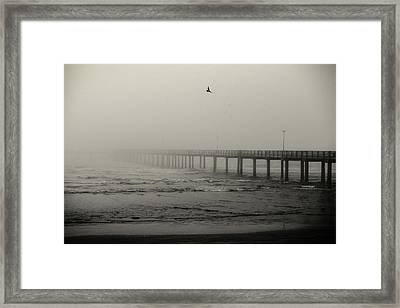 Pier In Fog Framed Print