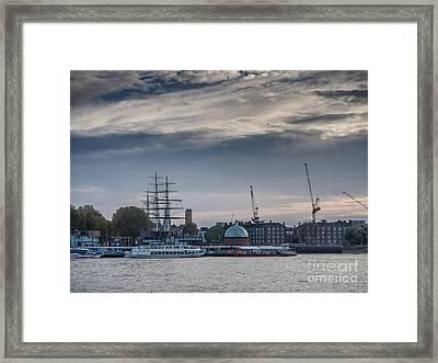 Pier In Greenwich Village In London Framed Print by Frank Bach