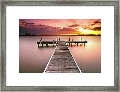 Pier In Lake Macquarie At Sunset, Australia Framed Print by Yury Prokopenko