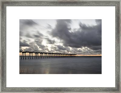 Pier In Misty Waters Framed Print