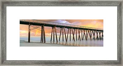 Pier On Beach During Sunrise, Playas De Framed Print