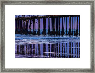 Pier Posts Reflections Framed Print