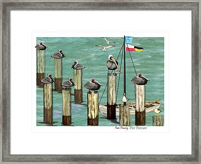 Framed Print featuring the painting Pier Pressure by Anne Beverley-Stamps