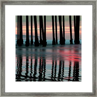 Framed Print featuring the photograph Pier Reflections - Ocean Sunset - California  by Gregory Ballos
