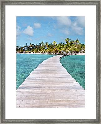 Pier To Tropical Island Framed Print by Matteo Colombo