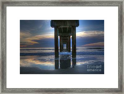 Pier View At Dawn Framed Print