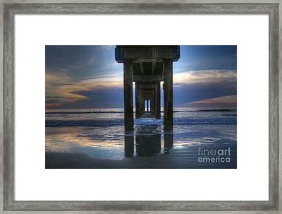Pier View At Dawn Framed Print