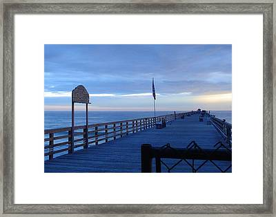 Pier View At Sunrise Framed Print