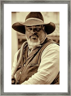 Framed Print featuring the photograph Piercing Eyes Of The Cowboy by Jeanne May