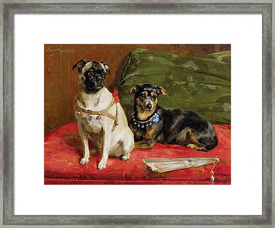 Pierette And Mifs Framed Print by Charles van den Eycken