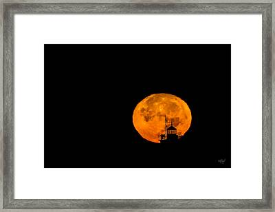 Framed Print featuring the photograph Pierhead Supermoon Silhouette by Everet Regal