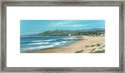 Pierpont Beach And The Bench Framed Print by Tina Obrien