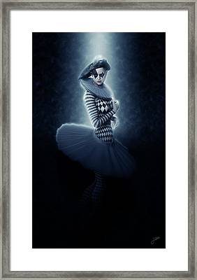 Pierrette Young Girl Lit In Blue Framed Print by Joaquin Abella