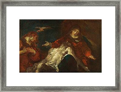 Framed Print featuring the painting Pieta With Mary Magdalene by Giuseppe Bazzani
