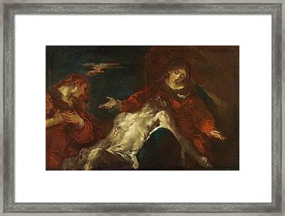 Pieta With Mary Magdalene Framed Print by Giuseppe Bazzani