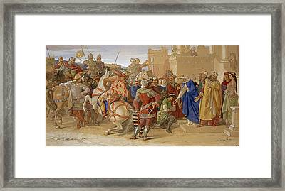 Piety - The Knights Of The Round Table Framed Print by William Dyce