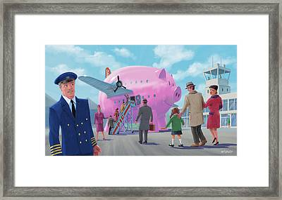 Pig Airline Airport Framed Print by Martin Davey
