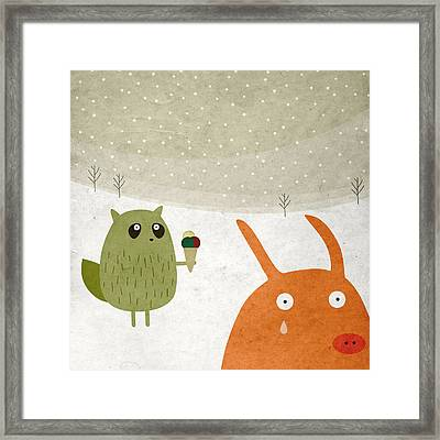 Pig And Squirrel In The Snow Framed Print