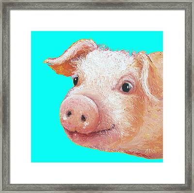 Pig Art For Kitchen Or Nursery Framed Print