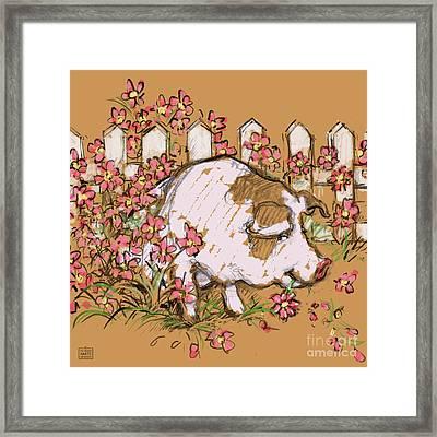 Pig Eating Petunias Framed Print by Kathleen Harte Gilsenan