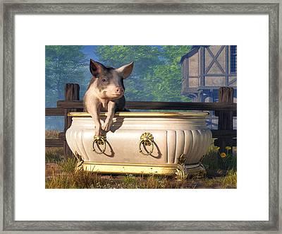 Pig In A Bathtub Framed Print by Daniel Eskridge