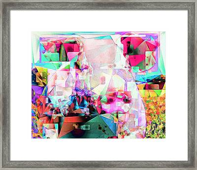 Pig In Field In Abstract Cubism 20170413 Framed Print