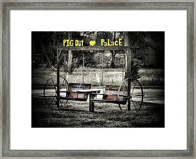 Pig Out Palace Framed Print by Karen Scovill