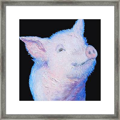 Pig Painting For The Kitchen Framed Print by Jan Matson