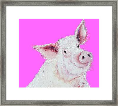 Pig Painting On Hot Pink Framed Print by Jan Matson