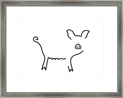 Pig Piglet Make A Mess Framed Print by Lineamentum