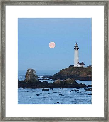 Pigeon Point At Moonset Framed Print