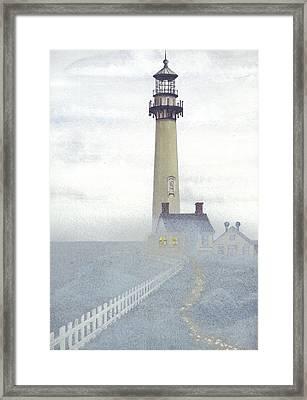 Pigeon Point Light In Fog Framed Print