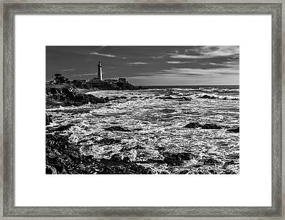 Pigeon Point Lighthouse Black And White Framed Print by Garry Gay