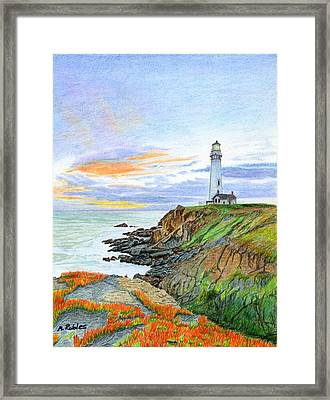 Pigeon Point Sunset Framed Print by Mike Robles