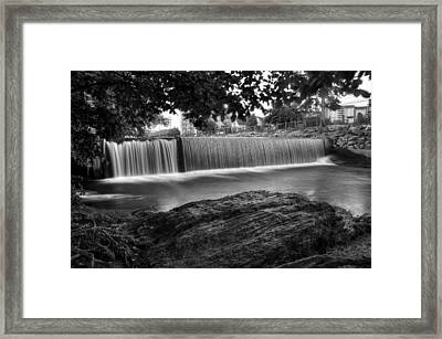 Pigeon River At Old Mill In Black And White Framed Print
