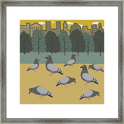 Pigeons Day Out Framed Print
