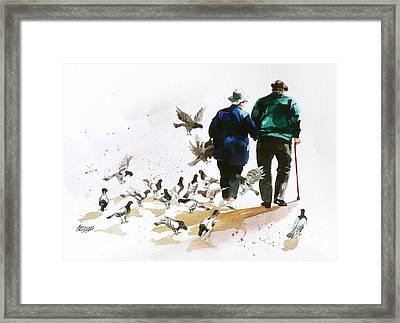 Pigeons 'n Pals Framed Print by Art Scholz