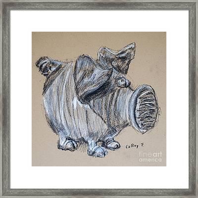 Piggy Bank Drawing By Caffrey Fielding Framed Print by Edward Fielding