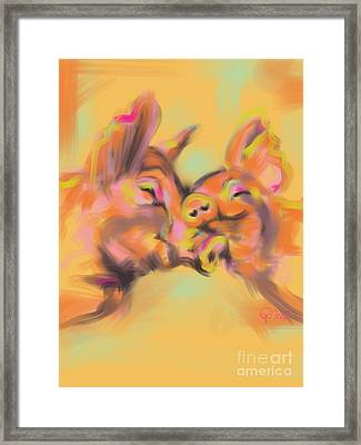 Framed Print featuring the painting Piggy Love by Go Van Kampen