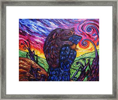 Framed Print featuring the painting Pighunter And Boar At Sunset by Dianne  Connolly