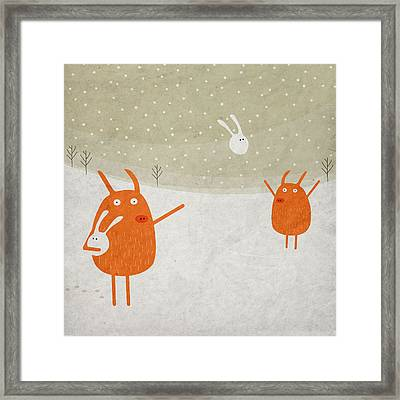 Pigs And Bunnies Framed Print by Fuzzorama