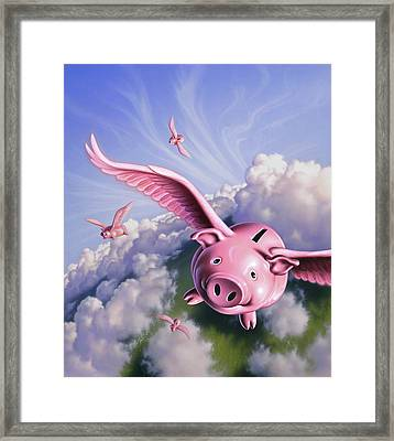Pigs Away Framed Print by Jerry LoFaro